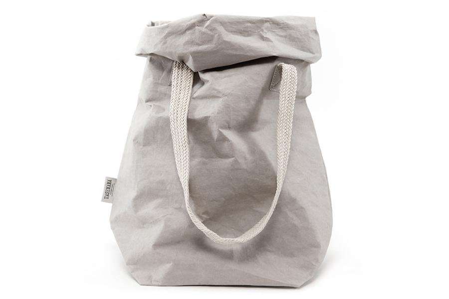 UASHMAMA セルロース 100% 洗えるペーパーハンドバッグ ツーハンドル モノクロ