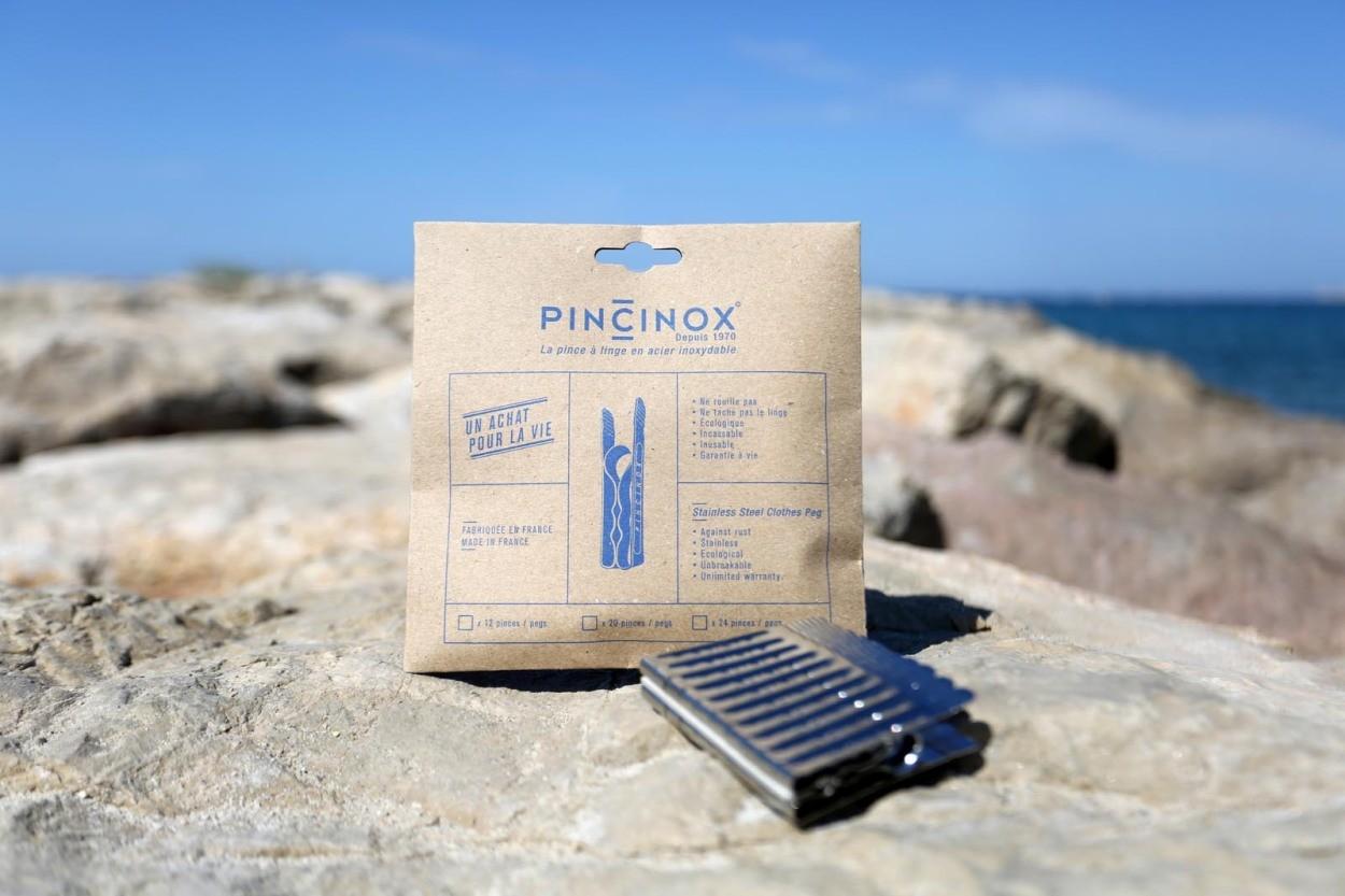 PINCINOX フランス製のユニークな一体型ステンレス構造ピンチ/洗濯バサミ 12個セット