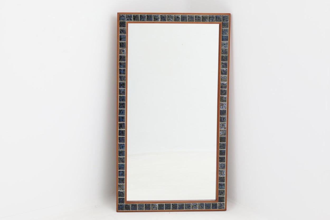 デンマーク製 チーク材/タイルミラー 壁掛け/立掛け 高さ79cm 北欧家具ビンテージ/DK12121