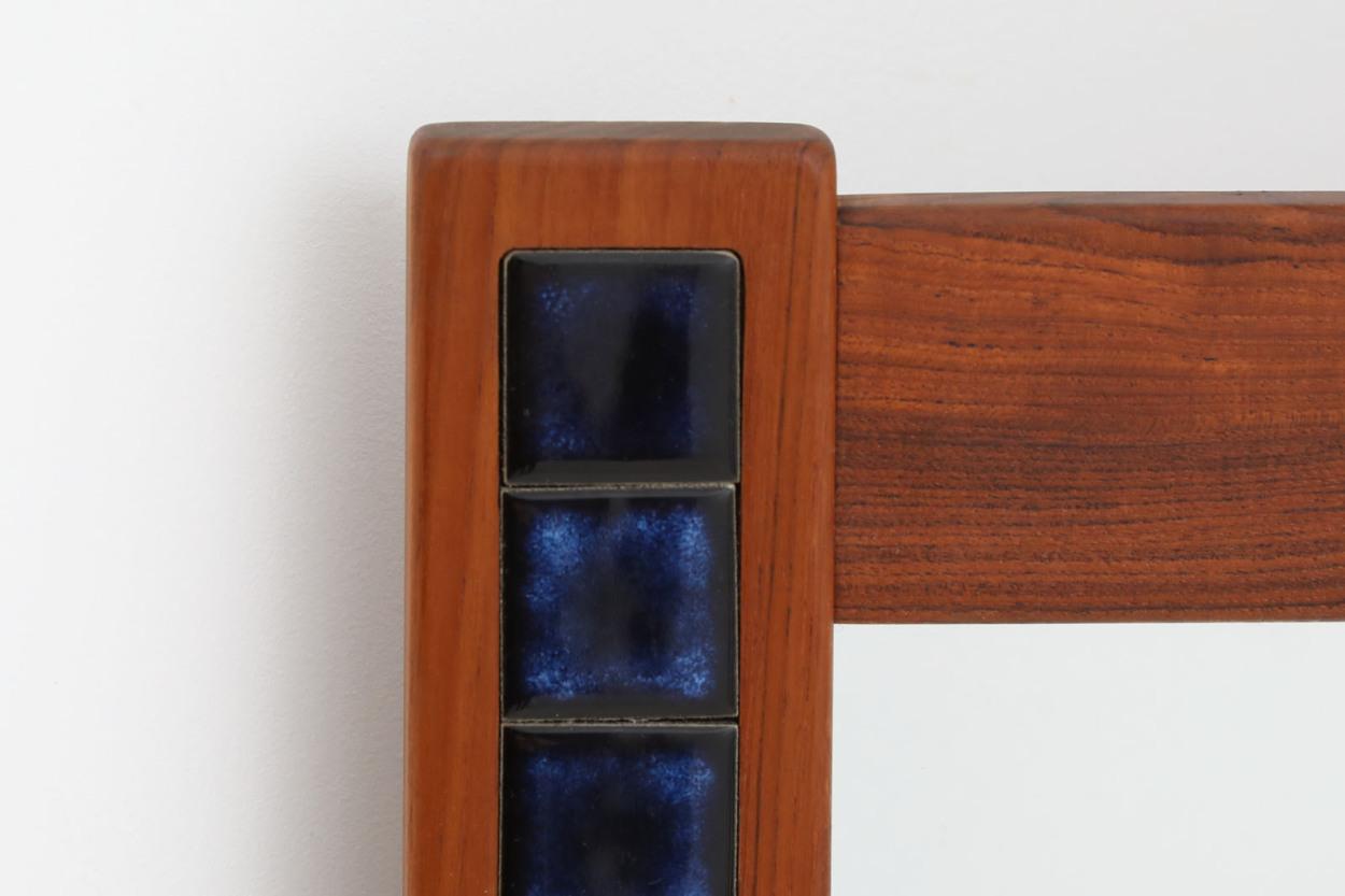 デンマーク製 チーク材/タイルミラー 立掛け 高さ104cm 北欧家具ビンテージ/DK12126