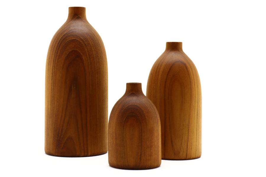 CHLOROS(クロロス) チーク材天然木のウッドベース/フラワーベース Lサイズ