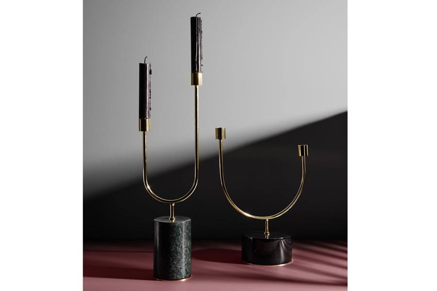 AYTM 【SALE】【40%OFF】GRASIL 美しいデザインの大理石キャンドルホルダー ブラックマーブル