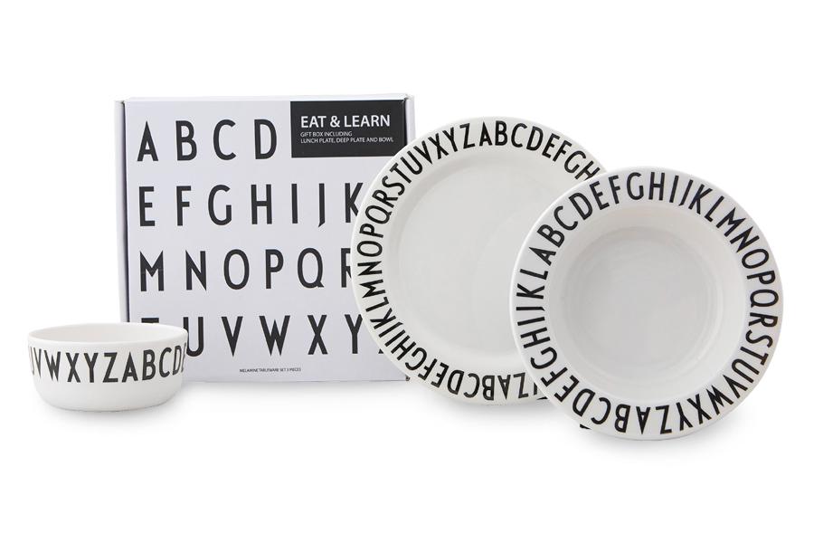 DESIGN LETTERS(デザインレターズ) Arne Jacobsen アルネ ヤコブセン Eat & Learn Gift Box/子供用メラミン食器ギフトセット
