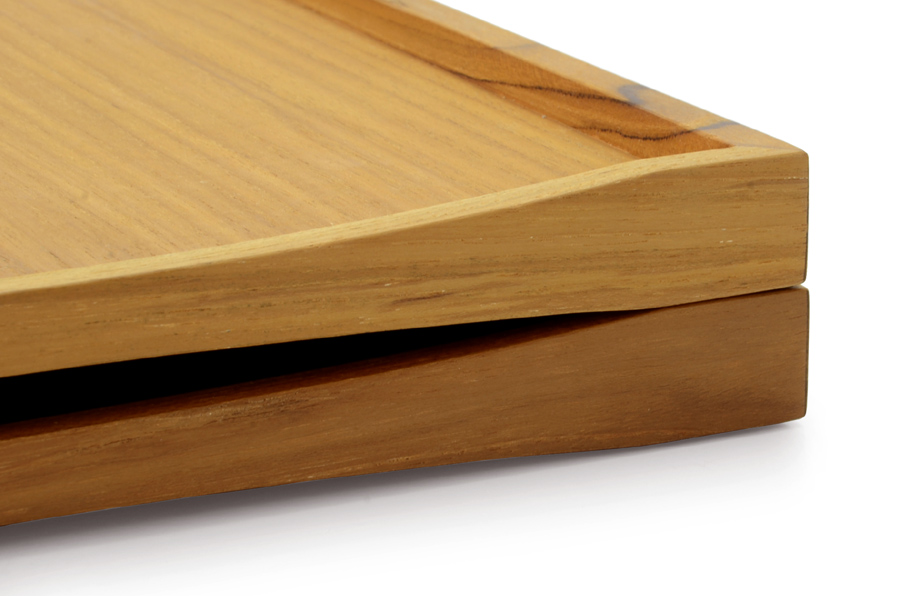CHLOROS(クロロス) チーク材天然木のリバーシブルトレイ Lサイズ