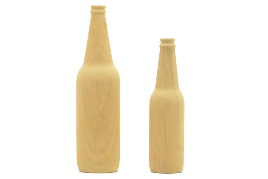 CHLOROS(クロロス) チーク材天然木のワインボトルオブジェ Sサイズ