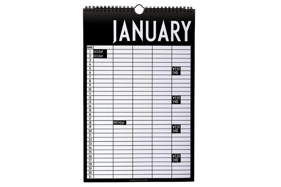 DESIGN LETTERS(デザインレターズ) Arne Jacobsen アルネ ヤコブセン マンスリープランナー/カレンダー