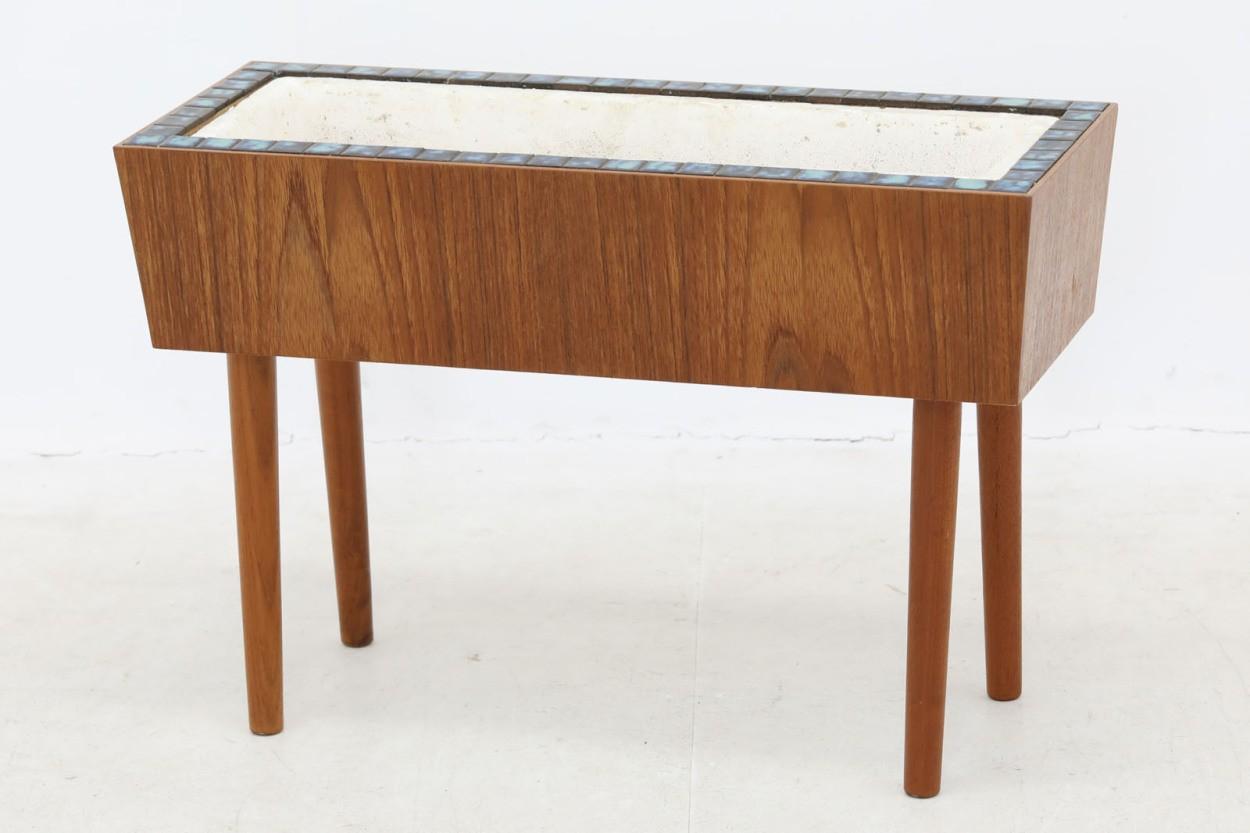 デンマーク製 チーク材 タイルトッププランター 北欧家具ビンテージ/DK10539