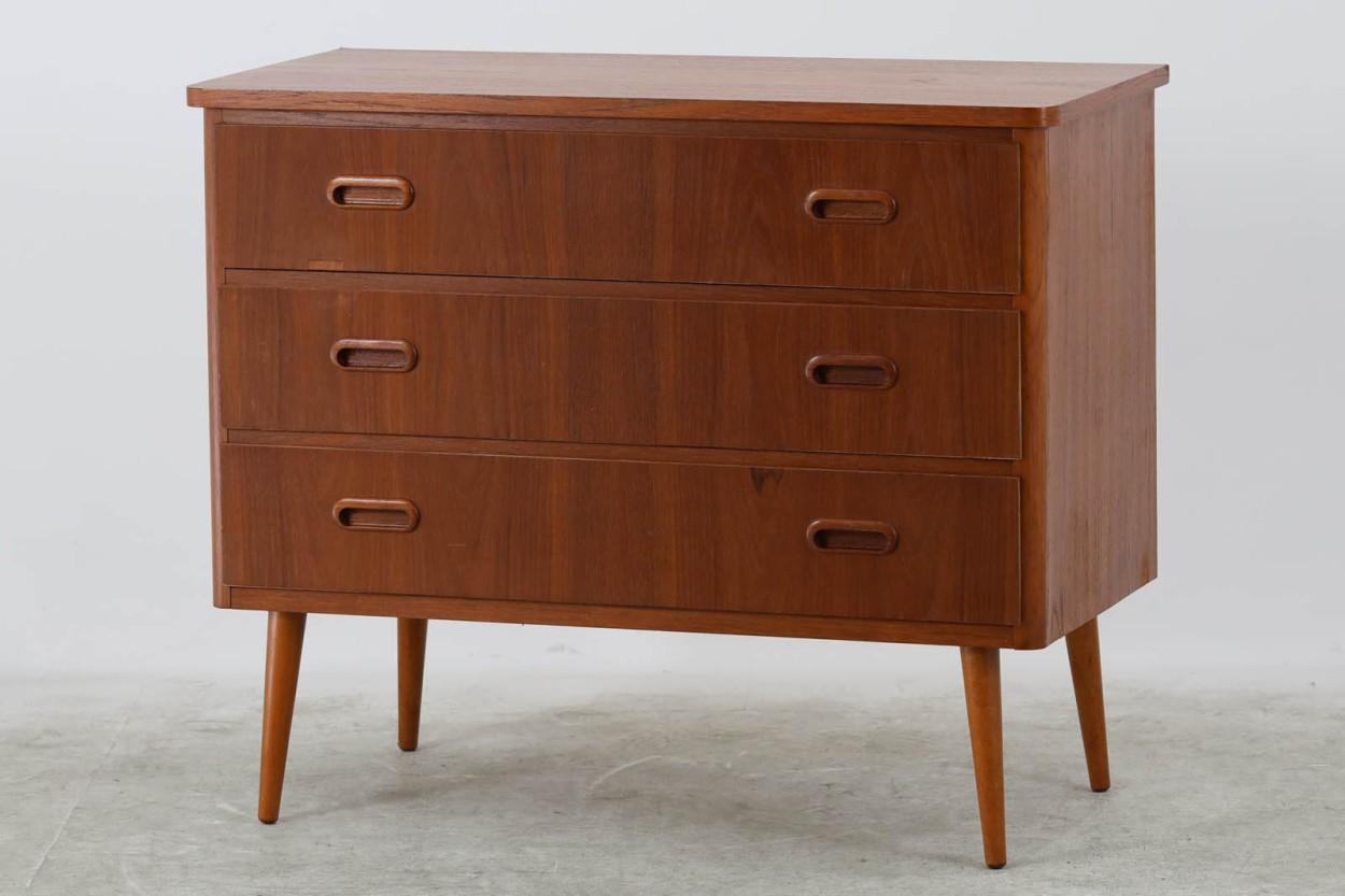 スウェーデン製 チェスト3段 チーク材 北欧家具ビンテージ/DK11211