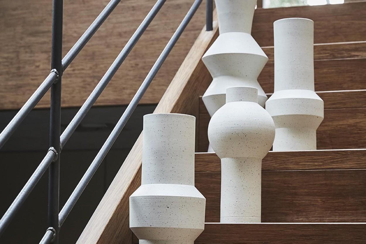 HKliving クレイのデザインフラワーベース 高さ40cm
