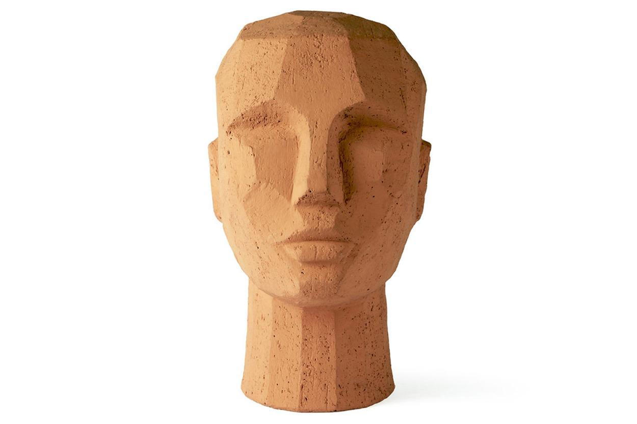 HKliving テラコッタ素材のモダンなフェイス彫刻 アートピース/オブジェ