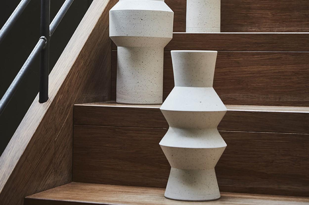 HKliving クレイのデザインフラワーベース 高さ31cm