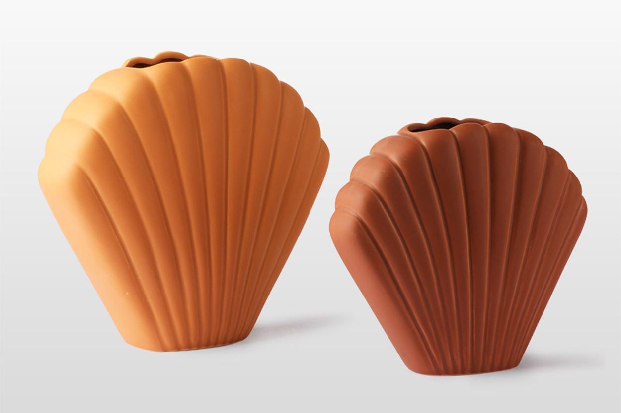 HKliving 素焼きセラミック製のシェルベース 花瓶/フラワーベース