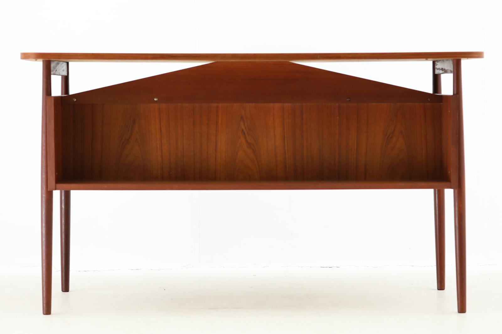 デンマーク製 両袖デスク/机 チーク材 北欧家具ビンテージ/DK10246
