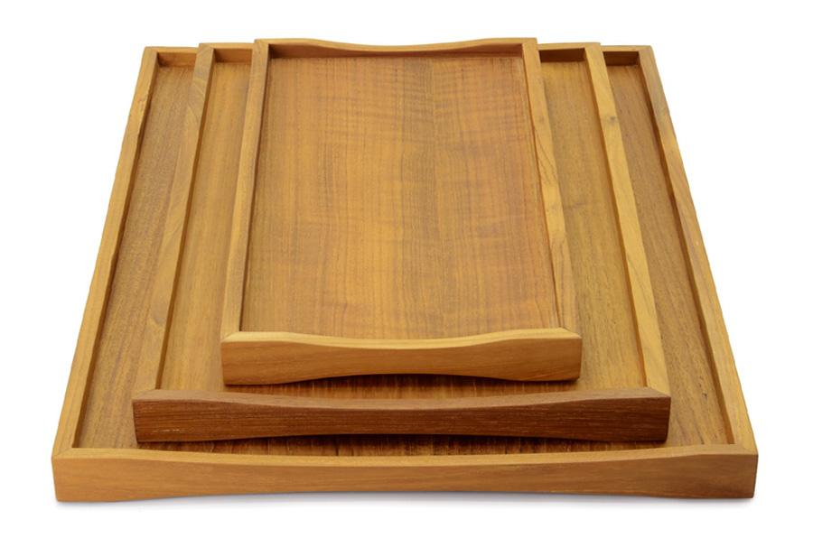 CHLOROS(クロロス) チーク材天然木のリバーシブルトレイ Sサイズ