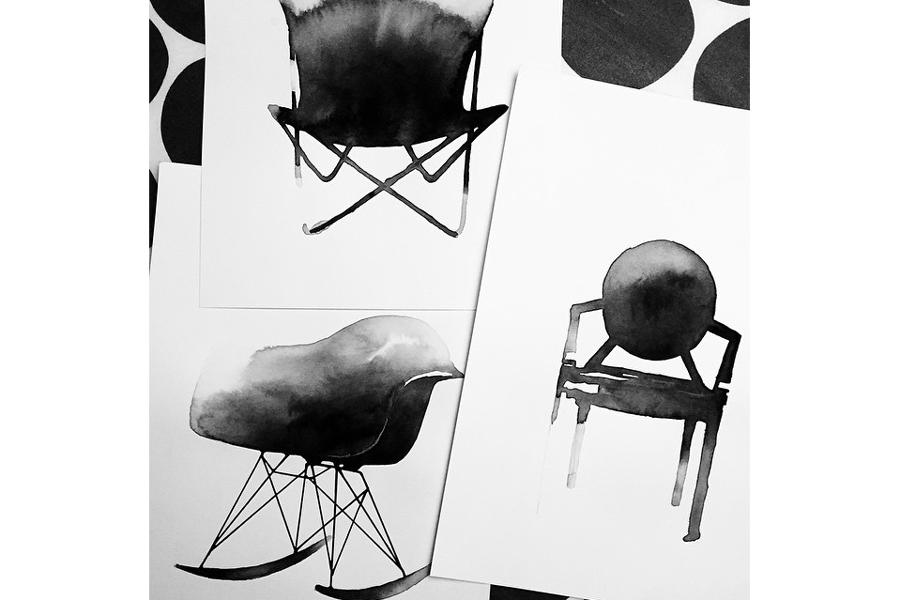Magdalena Tyboni Design ポスター/アートプリント 50 x 70 cm Rocking chair
