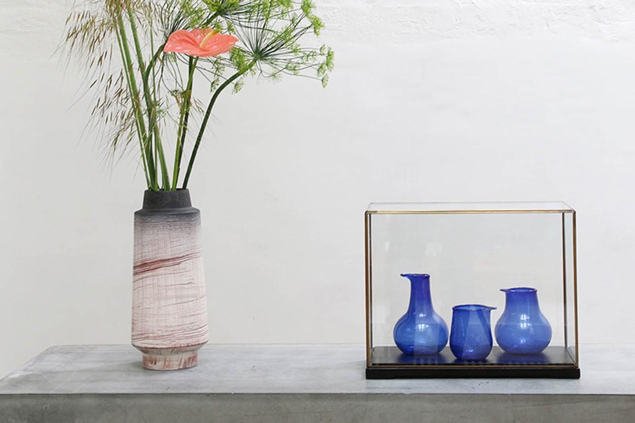 HKliving リサイクルガラスのフラワーベース 3点セット コバルトブルー