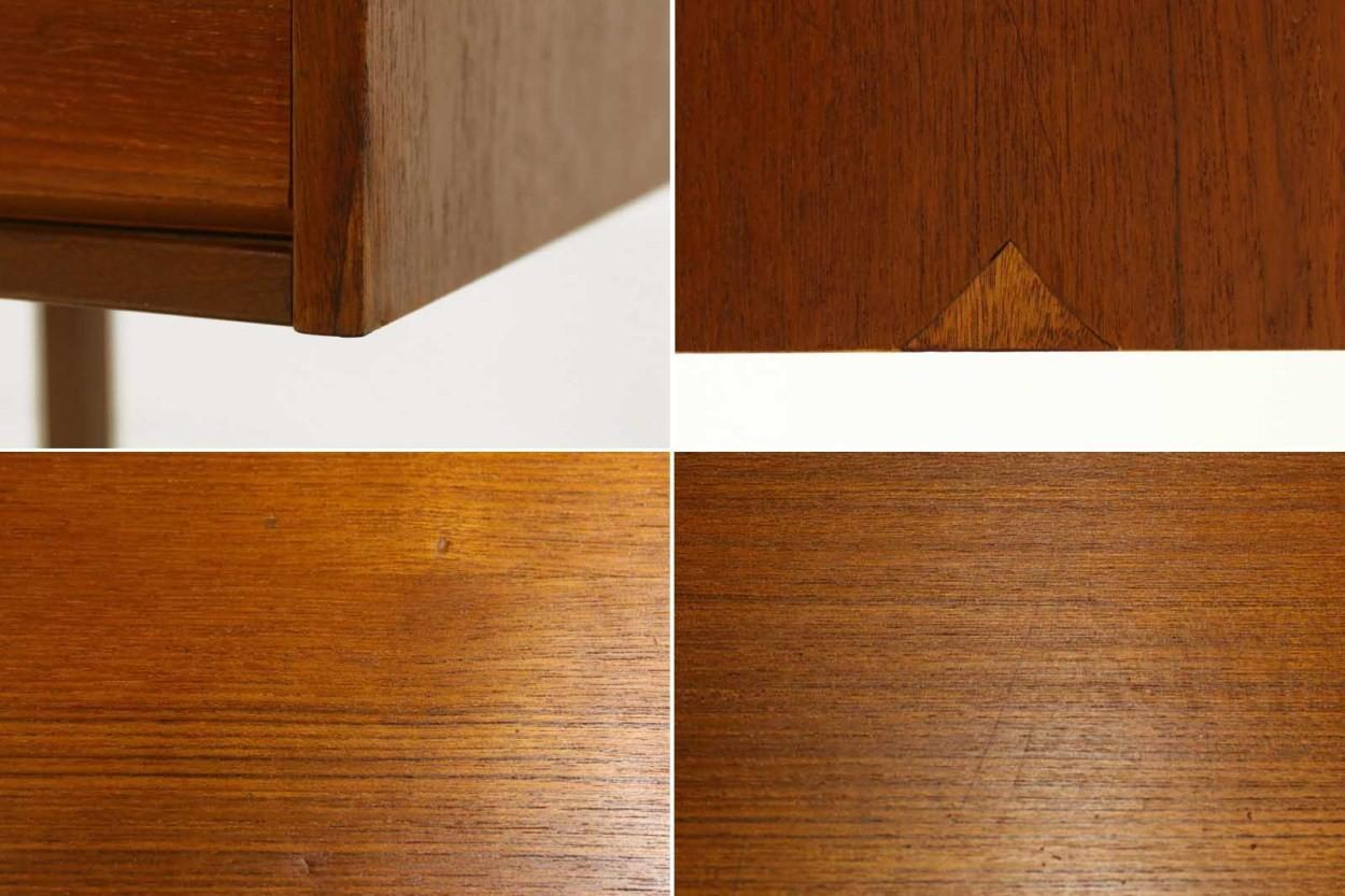 デンマーク製 小ぶりな片袖デスク チーク材 北欧家具ビンテージ/DK11153