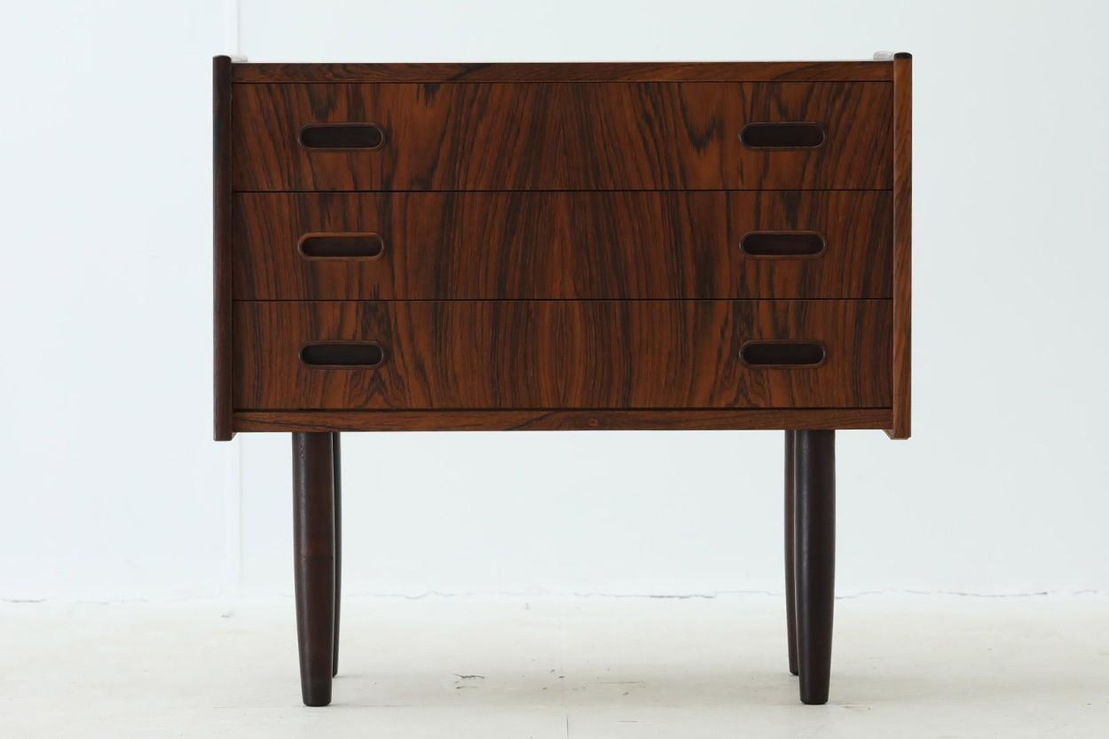 デンマーク製 3段チェスト ローズウッド材 北欧家具ビンテージ/DK9809