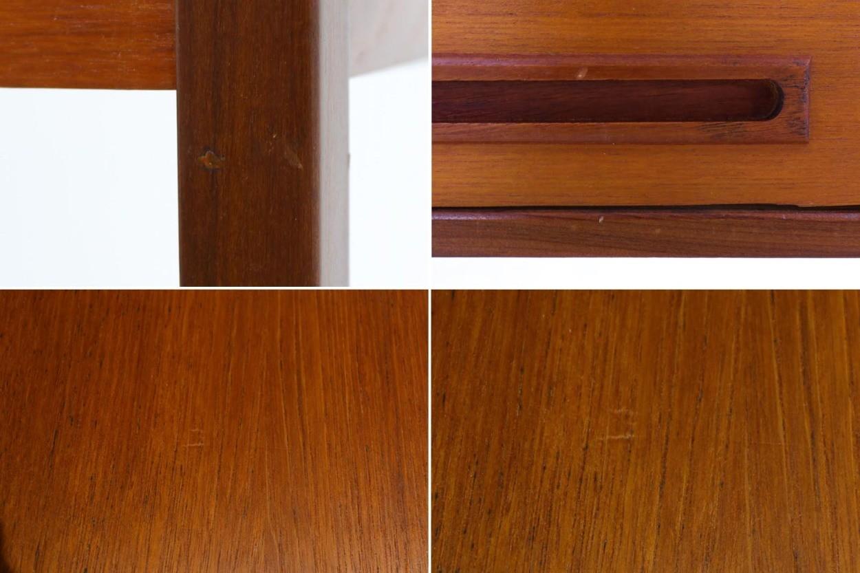デンマーク製 小ぶりな片袖デスク チーク材 北欧家具ビンテージ/DK10992