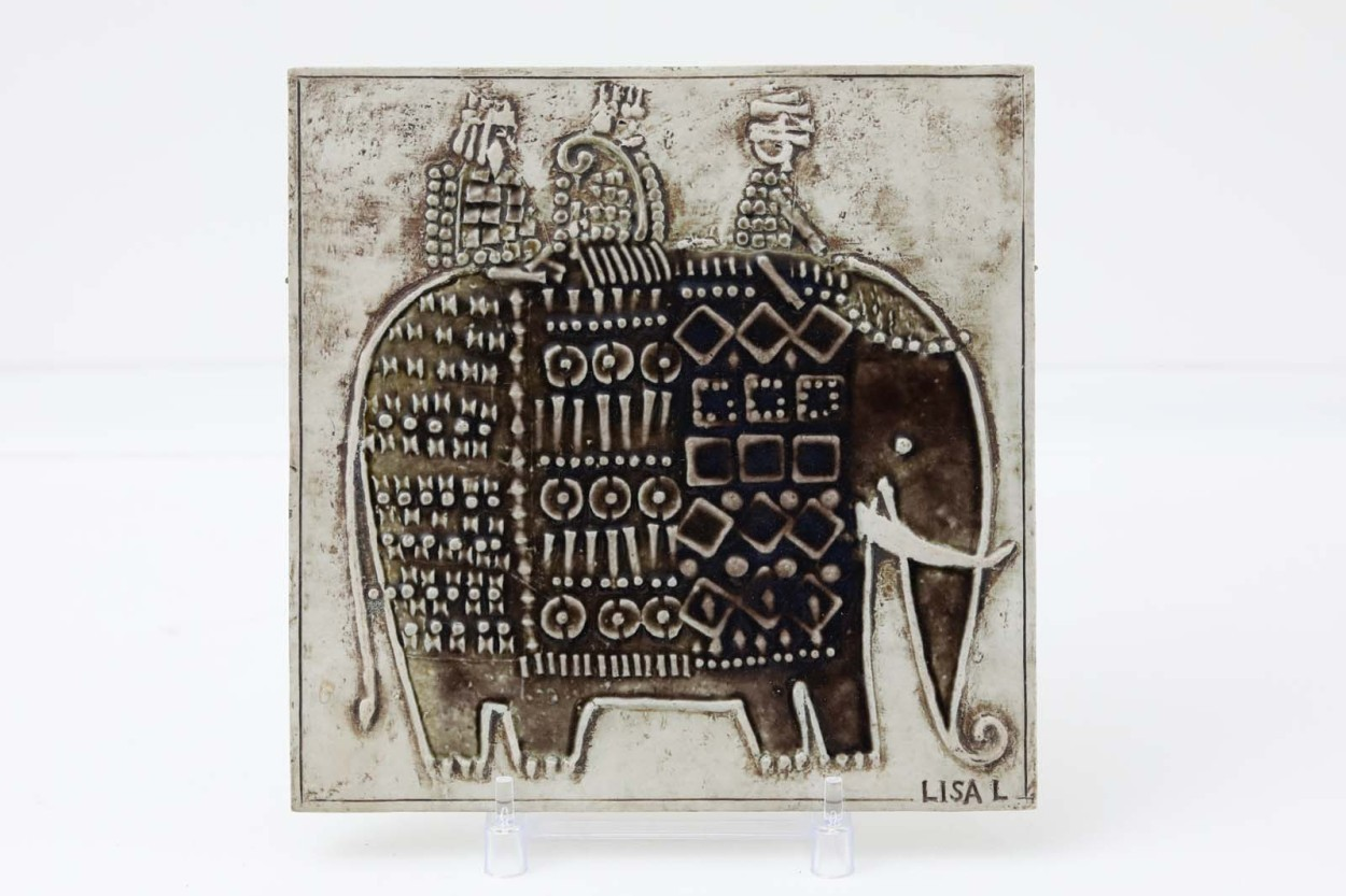 Lisa Larson リサ ラーソン UNIK 陶板 Elefant ゾウ/TA10403