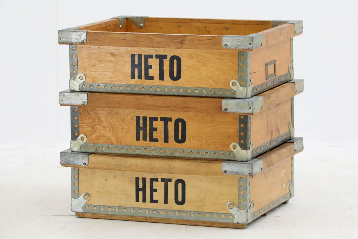 スウェーデン製 木製収納ボックス 北欧家具ビンテージ/DK9049