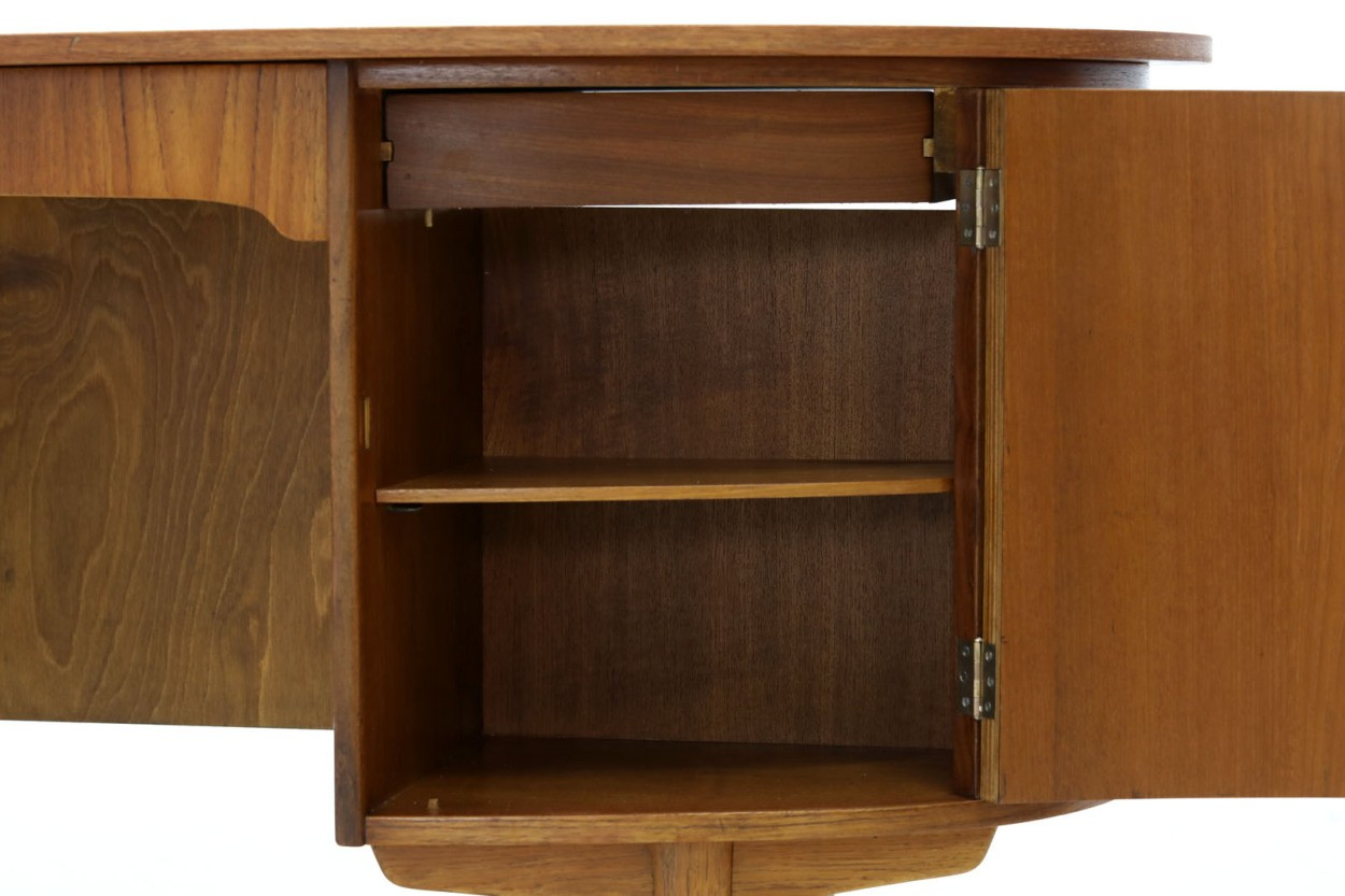 デンマーク製 お洒落な形のキドニーデスク チーク×オーク材 北欧家具ビンテージ/DK10542