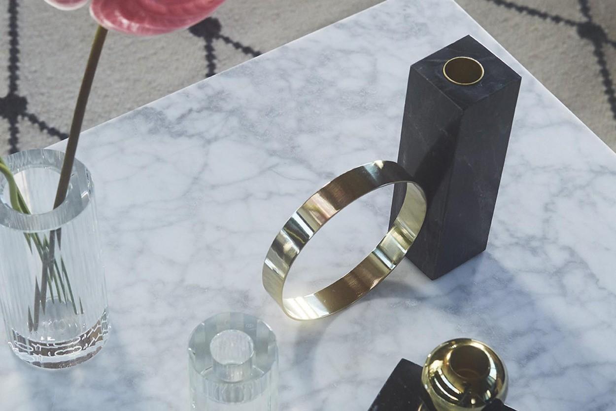 OYOY Living Design 大理石のキャンドルホルダーオブジェ HIGH ブラック