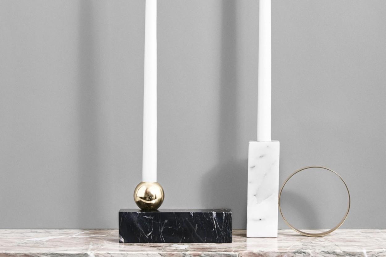 OYOY Living Design 大理石のキャンドルホルダーオブジェ HIGH ホワイト