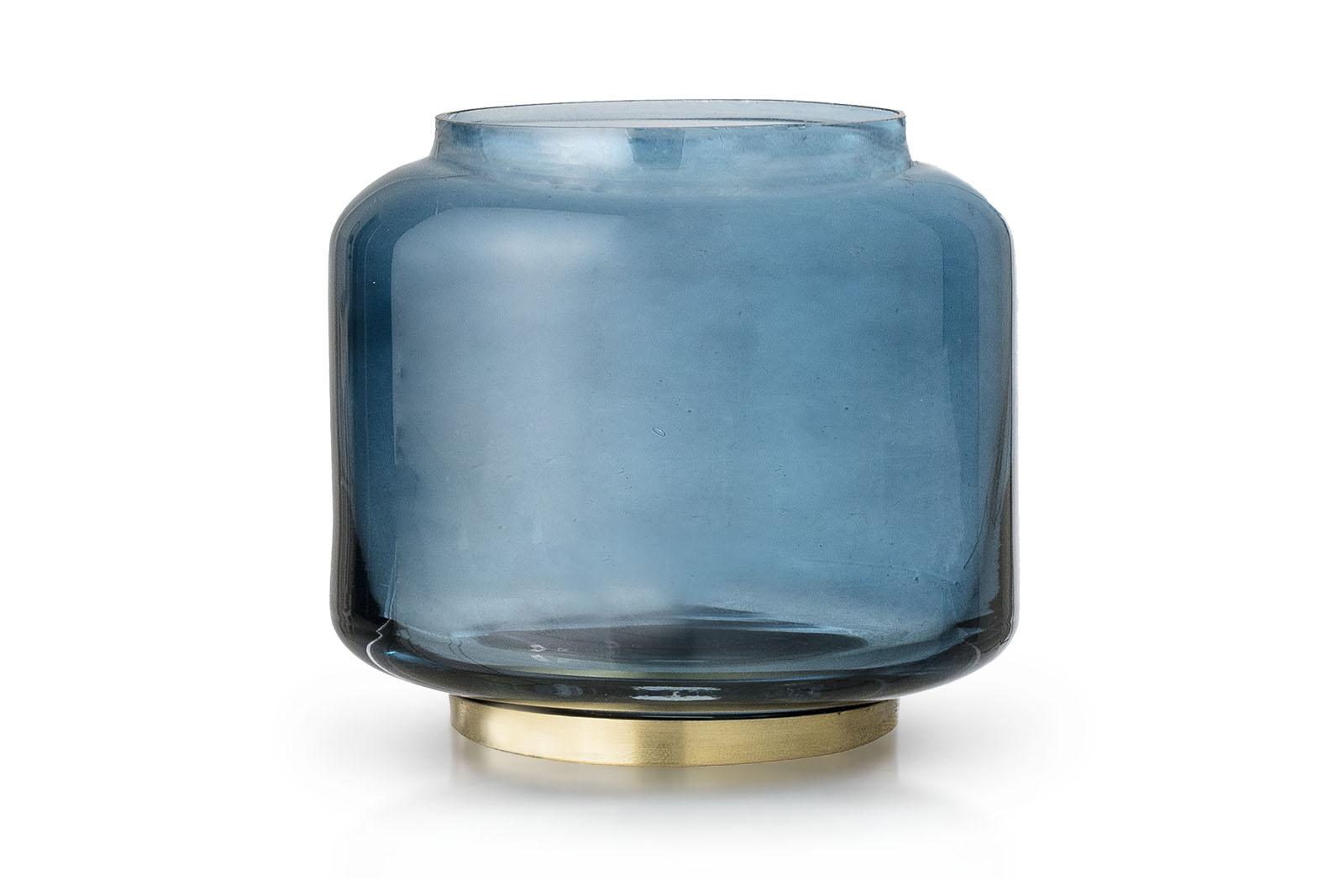 Bloomingville(ブルーミングヴィル) 綺麗なブルーカラーガラスのキャンドルホルダー