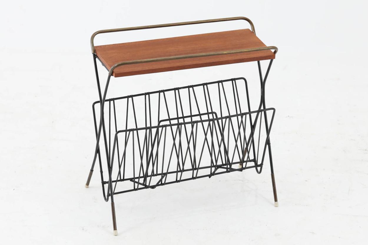 スウェーデン製 お洒落な形のマガジンラック チーク材 北欧家具ビンテージ/DK11516