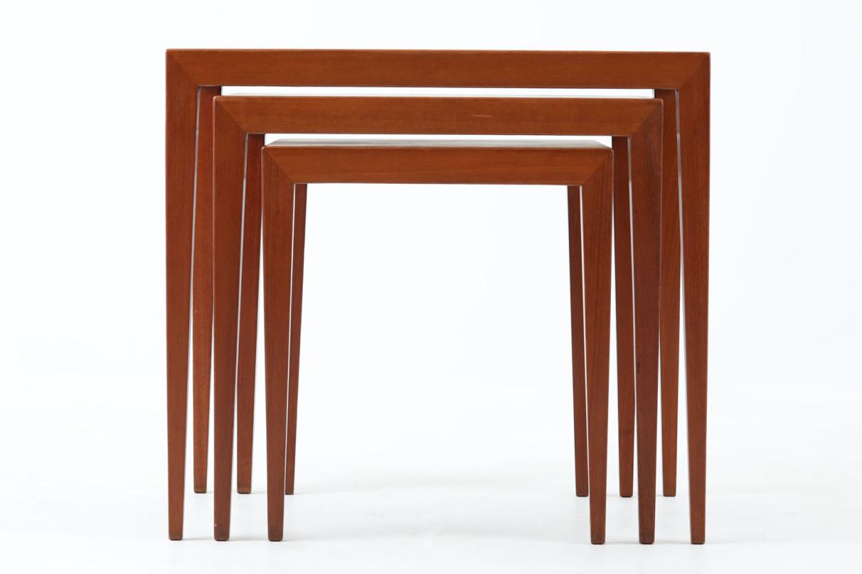 デンマーク製 Haslev(ハスレヴ) ネストテーブル チーク材 北欧家具ビンテージ/DK11769