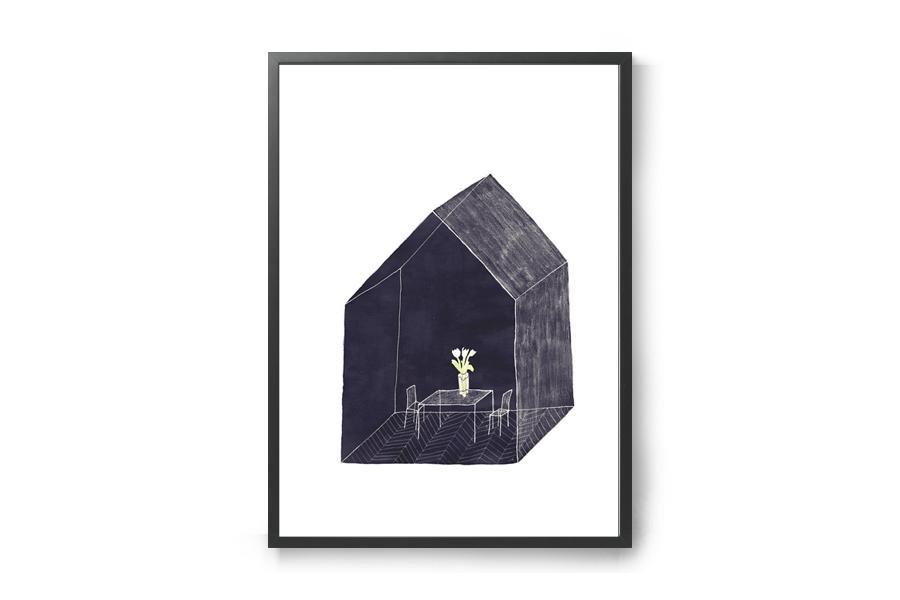 CHLOROS 天然木製のポスターフレーム/額縁 ブラック A3