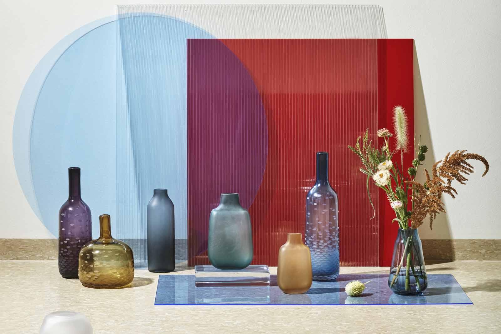 Broste Copenhagen(−) マウスブローガラスのフラワーベース ATLE 高さ42cm ブルー