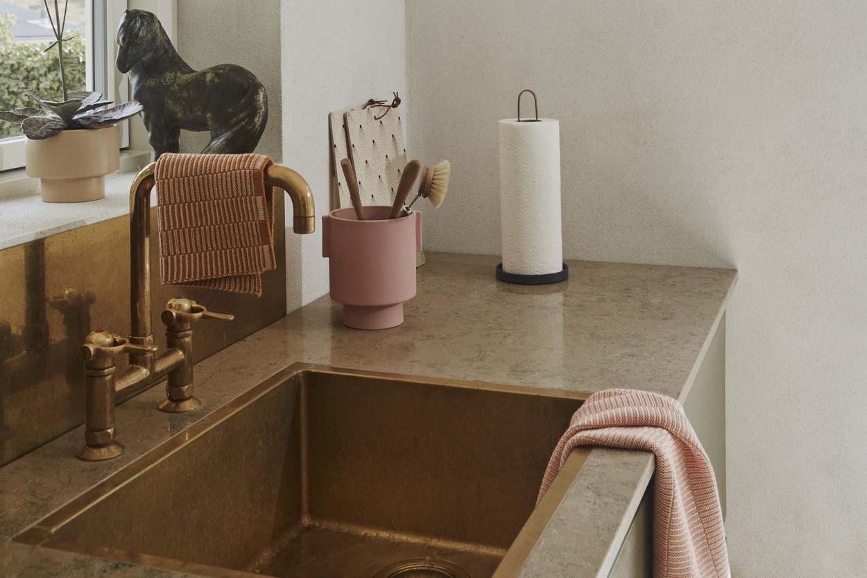OYOY Living Design オーガニックコットン製 ニット編みの小ぶりなキッチンタオル Stringa コーラル
