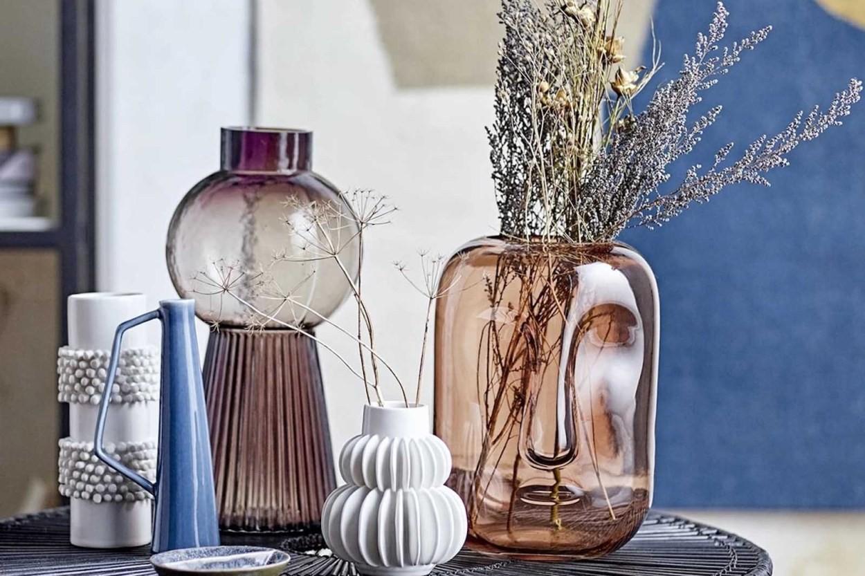 Bloomingville(ブルーミングヴィル) ガラス製フェイスデザインのフラワーベース