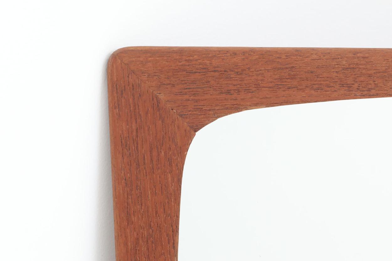 デンマーク製 チーク材ミラー 壁掛け/立掛け 高さ57cm 北欧ビンテージ家具/DK11535