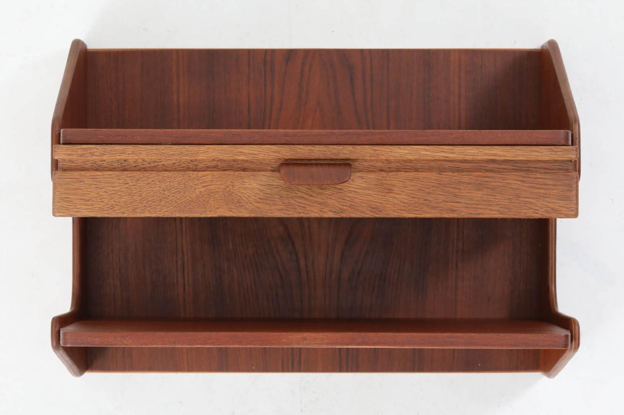 デンマーク製 壁掛けシェルフ/ウォールシェルフ チーク材 北欧家具ビンテージ/DK12423