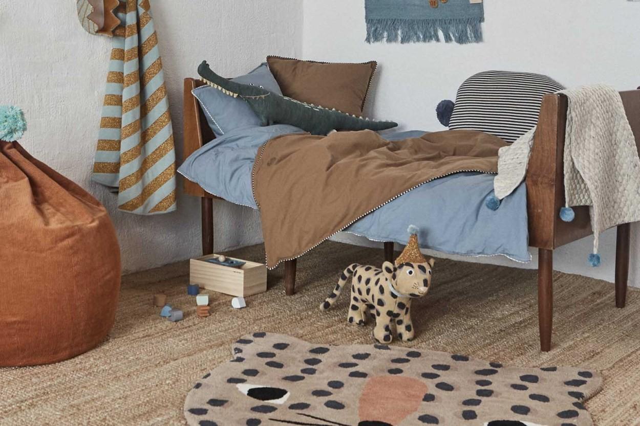 OYOY Living Design キッズ用 ウールコットンのおしゃれなレオパードデザインラグマット