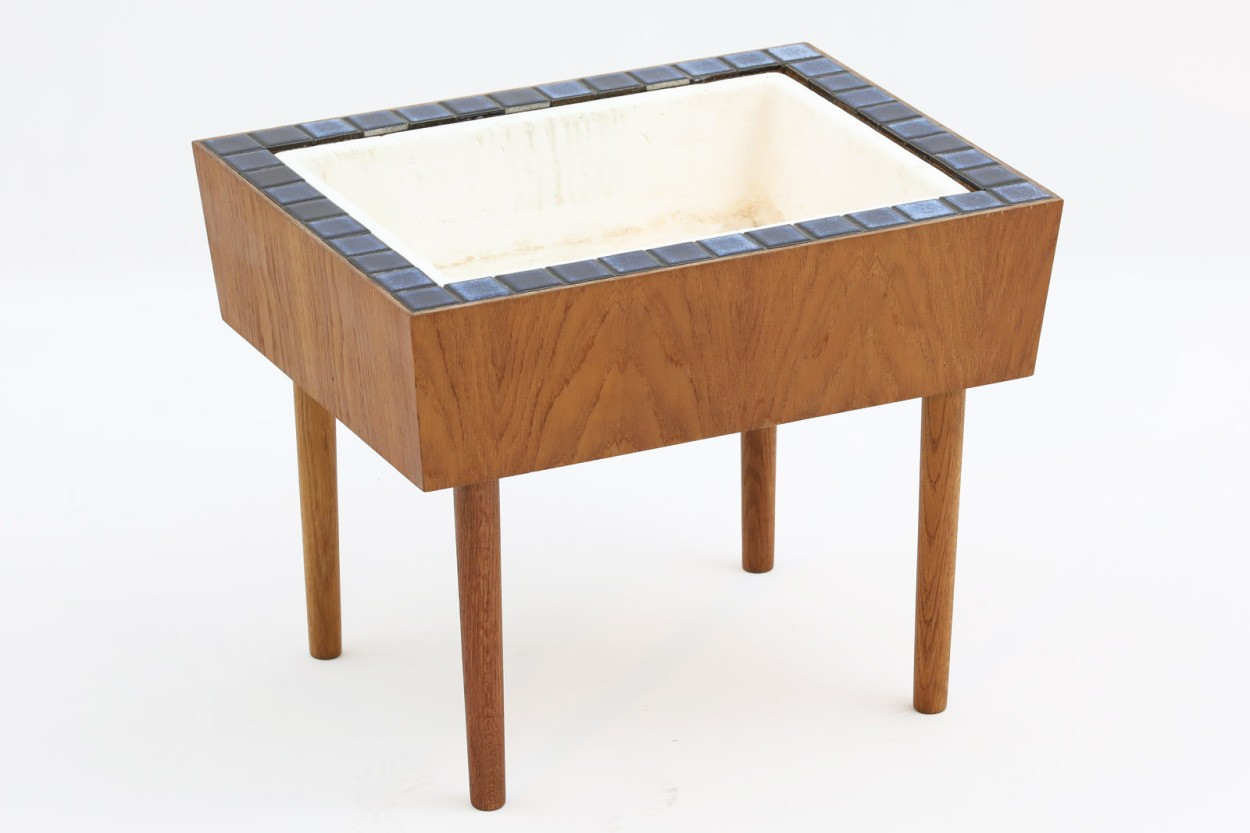 デンマーク製 チーク材 タイルトッププランター 北欧家具ビンテージ/DK10951