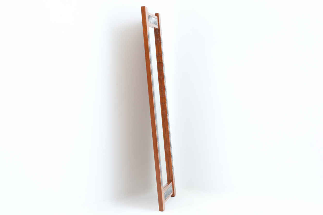 デンマーク製 チーク材/タイルミラー 壁掛け/立掛け 高さ106cm 北欧家具ビンテージ/DK11637