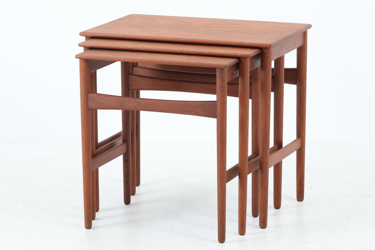 Hans J.Wegner(ハンス・J・ウェグナー) チーク無垢材 ネストテーブル AT40 北欧家具ビンテージ/DK12130