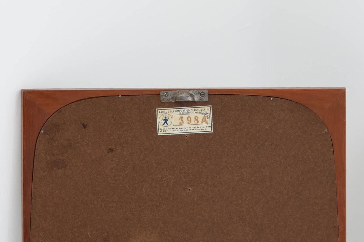 デンマーク製 チーク材ミラー 壁掛け/立掛け 高さ60cm 北欧ビンテージ家具/DK11704