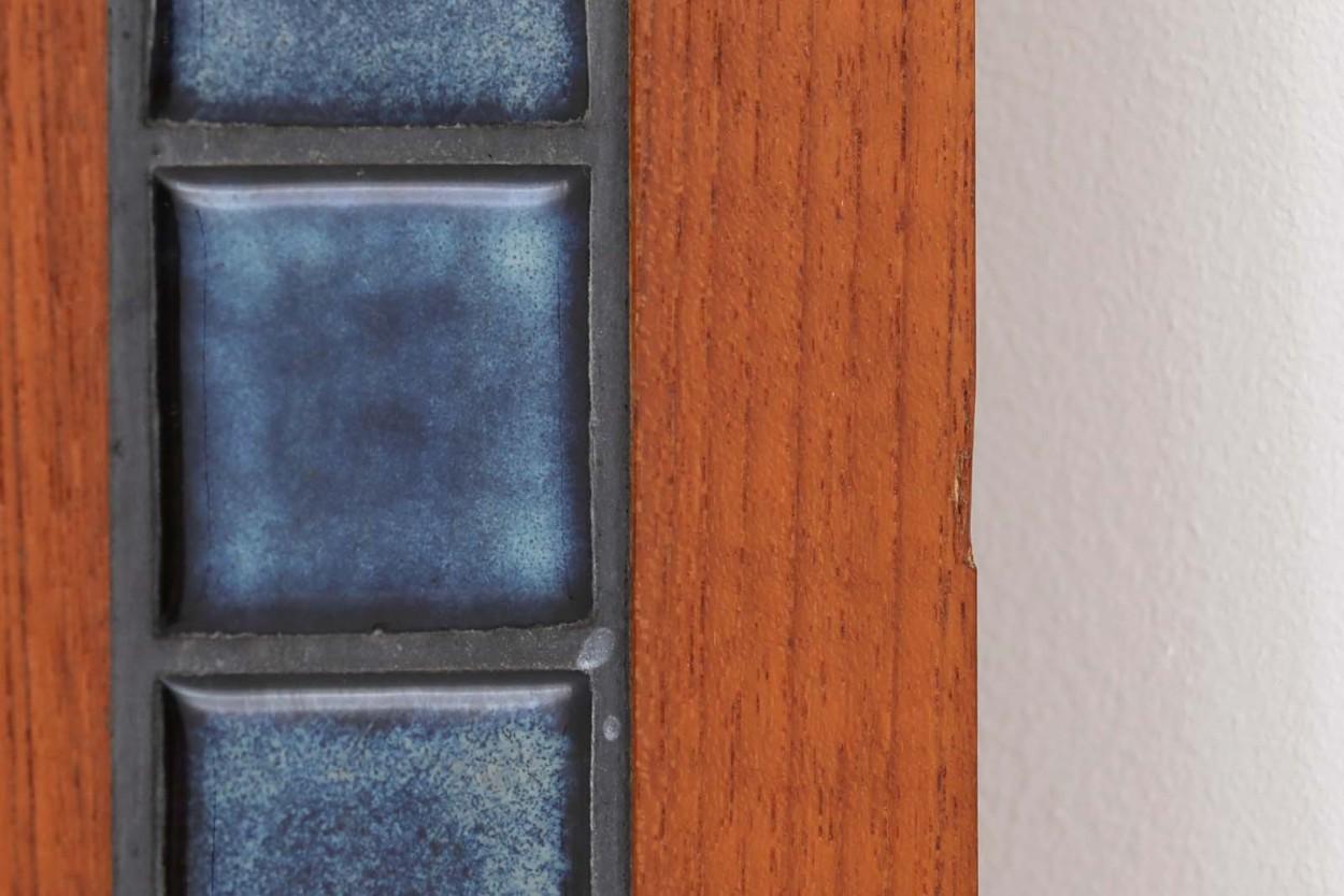 デンマーク製 チーク材/タイルミラー 立掛け 高さ114cm 北欧家具ビンテージ/DK12108