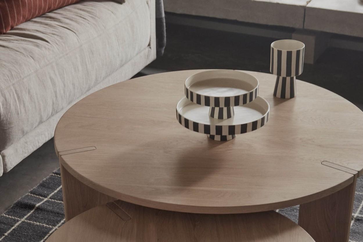 OYOY Living Design モノトーンカラーストライプデザインのフラワーベース/フラワーポット Toppu Sサイズ ホワイト×ブラック
