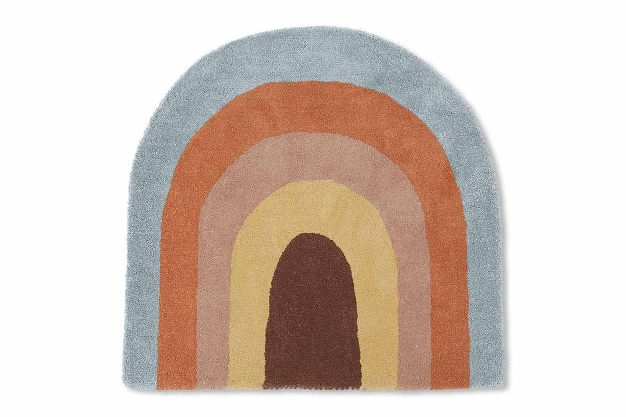 OYOY Living Design キッズ用 ウールコットンのおしゃれな形のレインボーデザインラグ