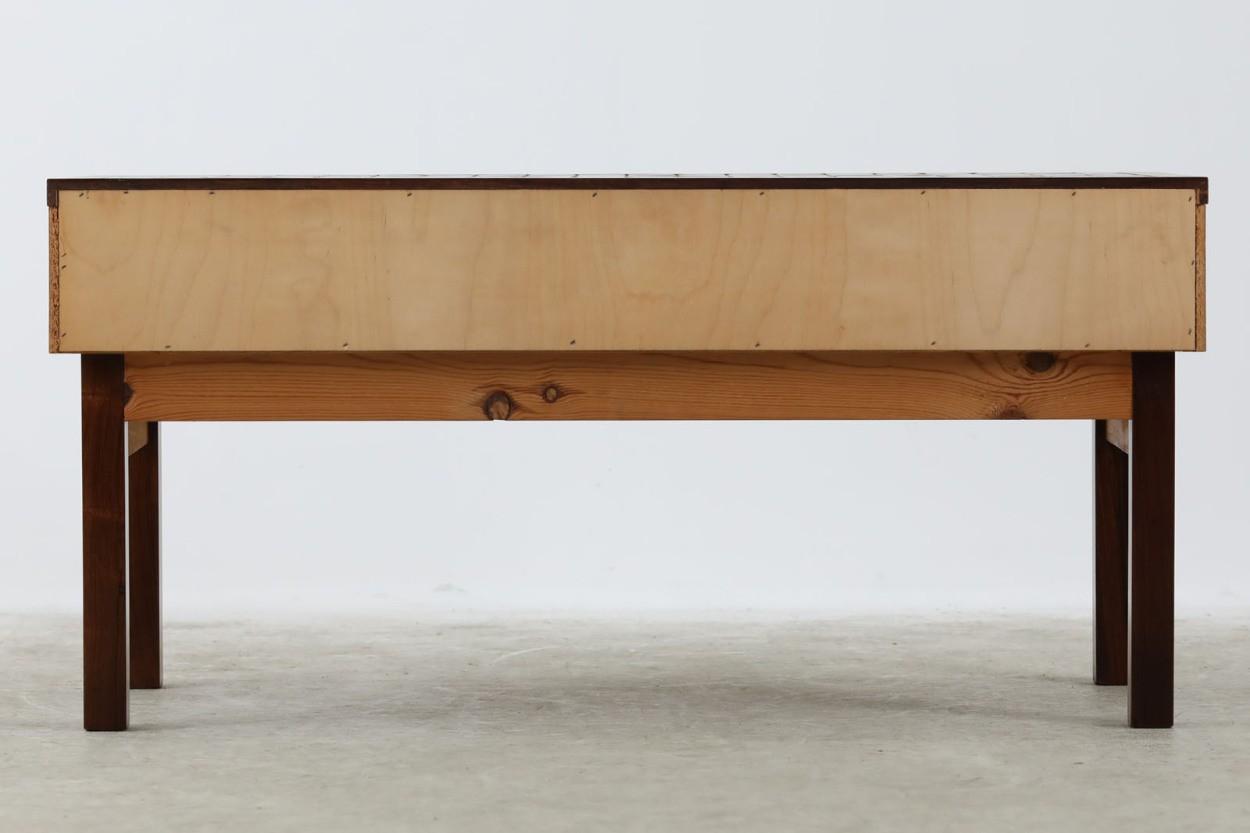 デンマーク製 タイルトップ 小ぶりなローボード/サイドボード ローズウッド材 幅91cm 北欧家具ビンテージ/DK10692