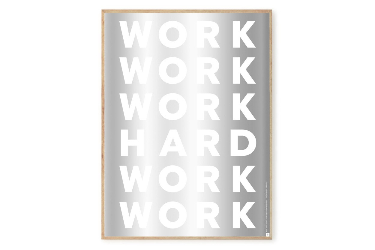 PLAYTYPE アルファベット ポスター/アートプリント 50×70cm ST - WORK HARD in Silver