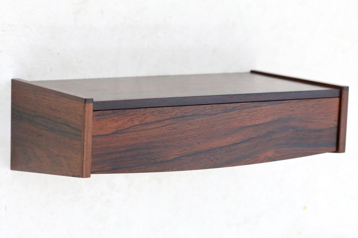 デンマーク製 壁掛けシェルフ ローズウッド材 北欧家具ビンテージ/DK9716