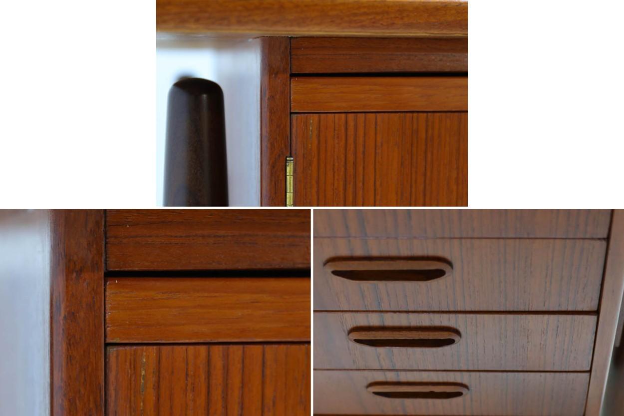 デンマーク製 両袖デスク/机 扉付き チーク材 北欧家具ビンテージ/DK11011
