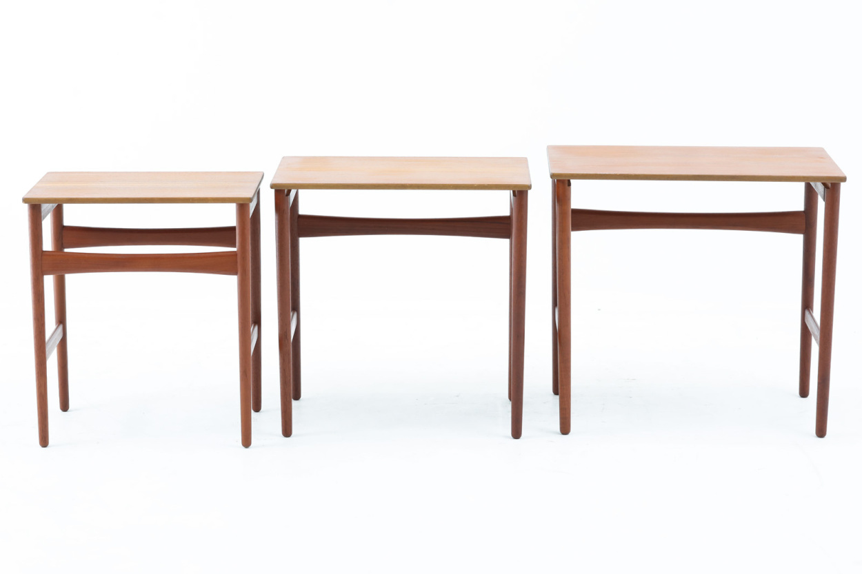 Hans J.Wegner(ハンス・J・ウェグナー) チーク材 ネストテーブル AT40 北欧家具ビンテージ/DK11644